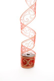 Curling red gold ribbon decoration poster