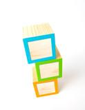 Blank wooden ABC blocks poster