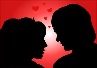 amorous couple, illustration