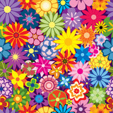Fototapety Colorful Seamless Repeating Flower Background