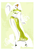 fashion sketch with a beautiful woman,  vector illustration poster