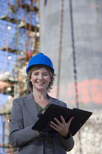 Successful woman oil platform engineer