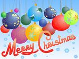 christmas balls postcard poster