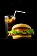 Hamburger and beverage