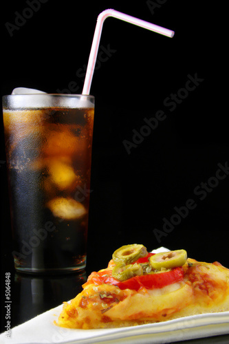 Pepperoni pizza and beverage