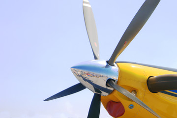 Detail of a yellow airplane