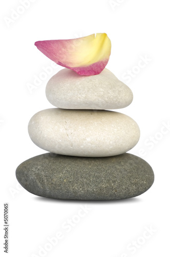 Stones and rose petal in balance