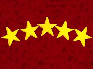 5 estrellas sobre fondo rojo