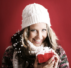 beautiful woman with a gift
