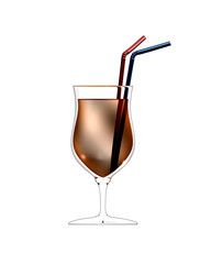 3D illustration of cocktail glass with straws