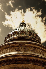 Sepia toned picture of christian church