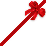 Fototapety red gift, ribbon, bow