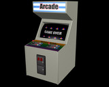 White Arcade Game on Black poster
