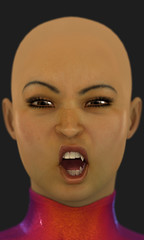 A close-up of a sexy bald woman with vampire fangs snarling.