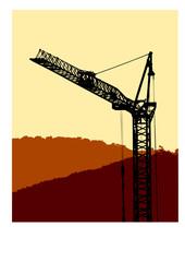 vector illustration construction silhouette crane