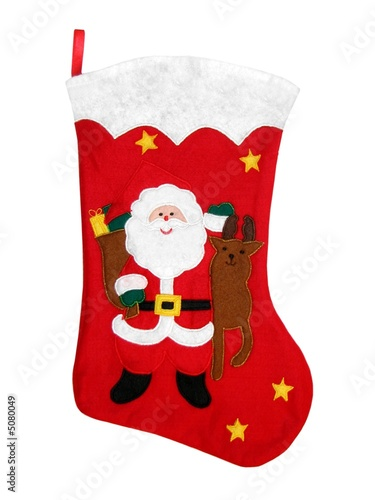 Christmas Stocking with Santa and Reindeer