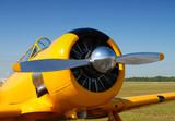 Front view of propeller airplane poster