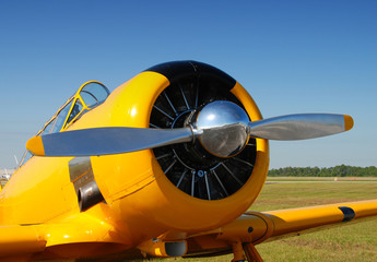Front view of propeller airplane