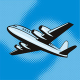 Propeller airplane flying up poster