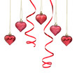 Red Christmas bauble hearts