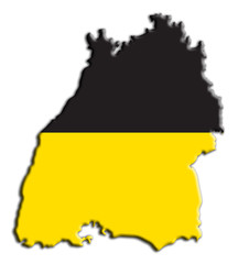 Karte Fahne Baden-Württemberg