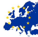 gold eu stars on map of blue europe poster