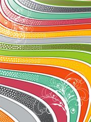 retro glossy rainbow wavy lines with swirls