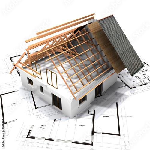 Poster maison charpente et plan F2