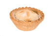Single Christmas mince pie on white background