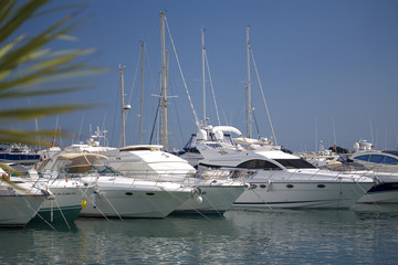 A line of boats at Puerto Banus