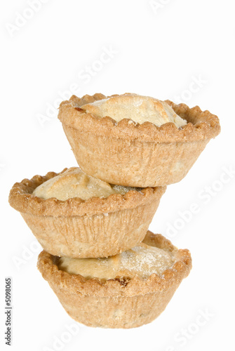 Stack of mince pies for Christmas on white background