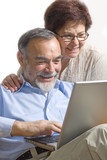 Senior couple on laptop. Concept may be is shopping in internet. poster