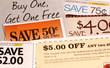 A variety of clipped store advertisement coupons