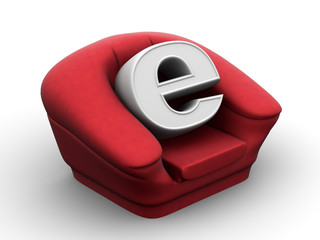 Armchair with symbol for internet
