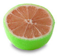 Sliced grapefruit on white background