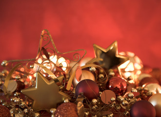 Christmas decorations with shallow focus
