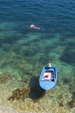 boat and diver at the adriatic sea in croatia poster