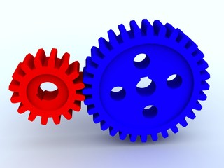 Small and big gear from plastic of blue and red color