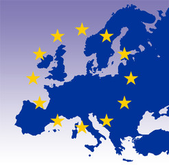 gold eu stars on map of blue europe with light purple gradient b