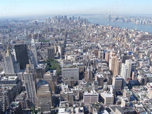 canvas print picture Blick von wolkenkratzer auf halbinsel manhattan in new york