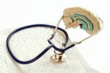 Stethoscope and medical record lying  with model human brain.   poster