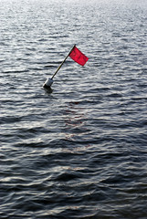 Waves and red buoy