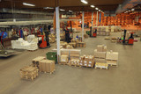 warehouse interior elevated view poster