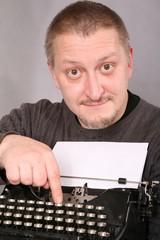 man with a typewriter