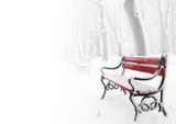 Fototapety Red benches in the fog in winter