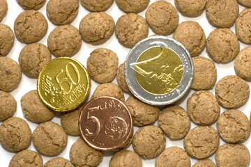 Chocolate euros and pepernoten
