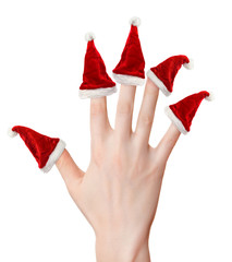 Woman hand with santa hats