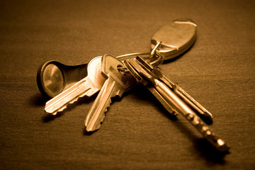 Bunch of keys on dark background