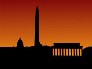 Washington DC skyline with monuments