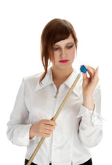 girl with cue and chalk